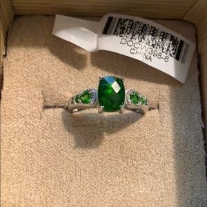 Green and Sterling sliver ring
